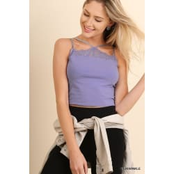 Sleeveless Caged Look With Lace Detailed Crop Top (Medium / Periwinkle) large, primary, image