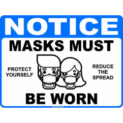 Notice Masks Must Be Worn Social Distancing Decal Multi-Pack (5 per pack) English or Spanish (3x5 … large, primary, image