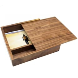 Sliding Lid Keepsake Storage Box-180*180*50 mm (Walnut) large, primary, image