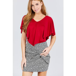 Juniors Chili Red V-Neck Flounce Cape Rayon Spandex Knit Top (Small / Chili Red) large, primary, image