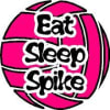 "Image of the Eat Sleep Spike Volleyball Decal. 4"" Round Decal. (3"") prize"