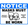 Image of the Notice Masks Must Be Worn Social Distancing Decal Multi-Pack (5 per pack) English or Spanish (3x5 … prize