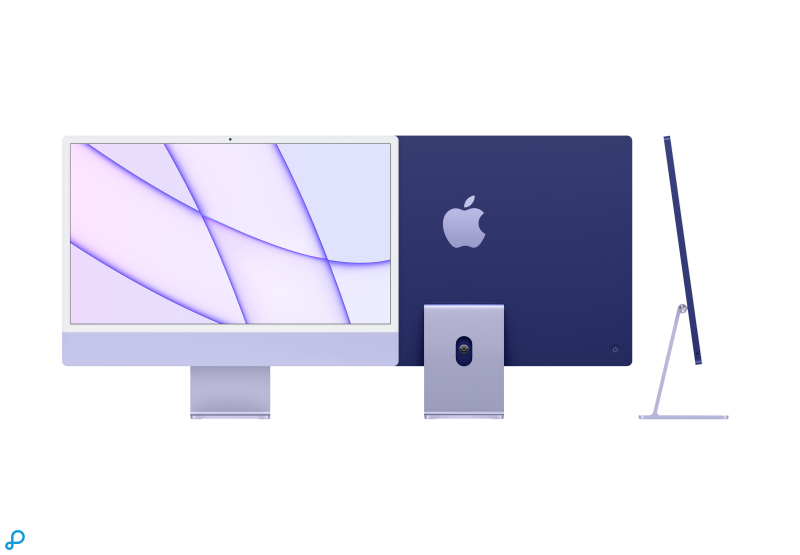 24-inch iMac met Retina 4,5K-display: Apple M1-chip met 8-core CPU en 8-core GPU - paars