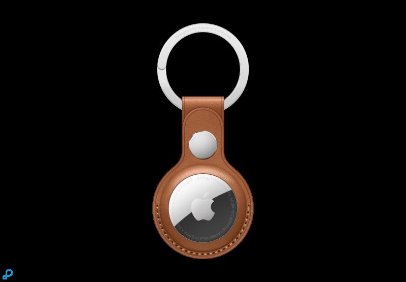 Leren AirTag-sleutelhanger - Zadelbruin