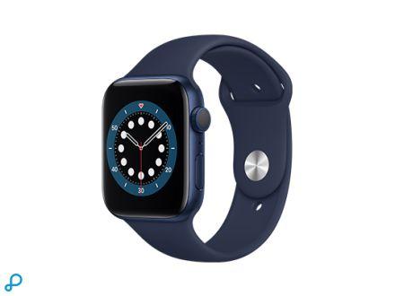 Apple Watch Series 6 - 44mm Blauw Aluminium kast met blauwe Sportband - Regular