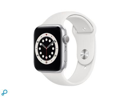Apple Watch Series 6 - 44mm Zilver Aluminium kast met witte Sportband - Regular