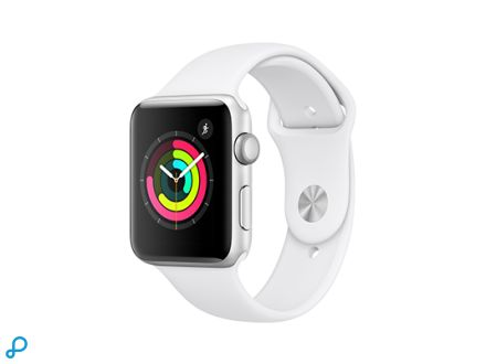 Apple Watch Series 3 GPS - 42 mm zilveren aluminium behuizing met witte sportband