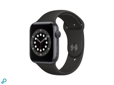 Apple Watch Series 6 - 44mm Spacegrijs Aluminium kast met zwarte Sportband - Regular