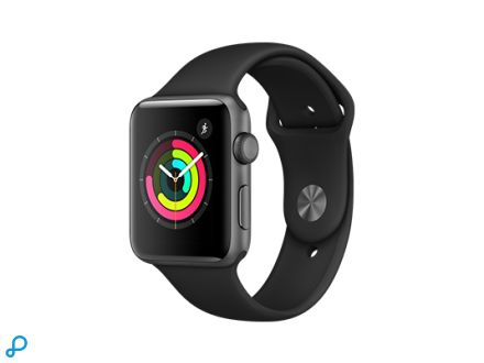 Apple Watch Series 3 GPS - 42 mm spacegrijs aluminium behuizing met zwarte sportband