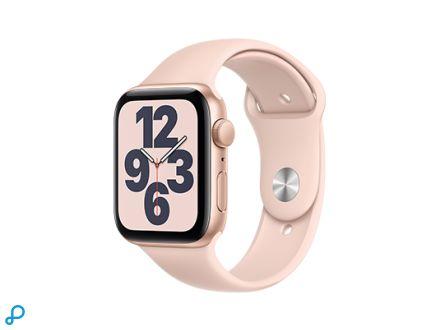 Apple Watch SE - 44mm Goud aluminium kast met roze sportband - regular