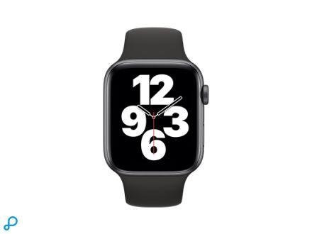 Apple Watch SE - 44mm Spacegrijs aluminium kast met zwarte sportband - regular