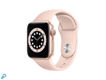 Apple Watch Series 6 - 40mm Goud Aluminium kast met roze Sportband - Regular