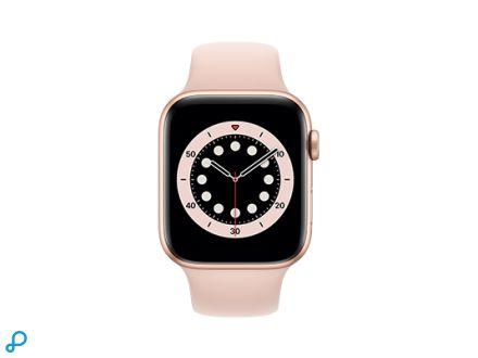Apple Watch Series 6 - 44mm Goud Aluminium kast met roze Sportband - Regular