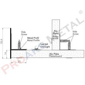 Gizli Işık Bandı Profili 50mm Alüminyum Alçı Levha Asma Tavan