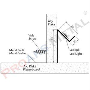 Gizli Led Profili Alüminyum Alçıpan Bölme Duvar Asma Tavan