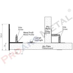 Hidden Light Belt Profile 50mm Drywall Aluminium Suspended Ceiling