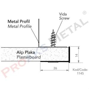 Detay L Profili Alüminyum Galvaniz 14mm 21mm Alçıpan Profil