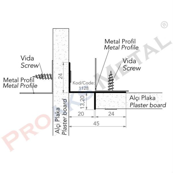 T Profile Aluminum Suspended Ceiling Metal Plasterboard Drywall
