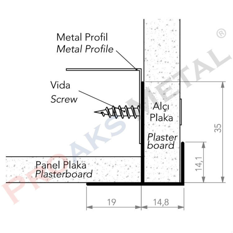 Plasterboard Transition Corner Screen
