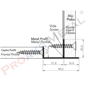 Facade Joint Profile Aluminum Frontal Suspended Ceiling Gypsum Board