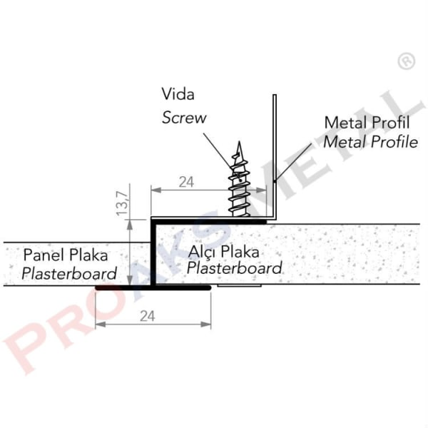 Plasterboard Transition U Screen Panel Plaka Metal Profile Screw