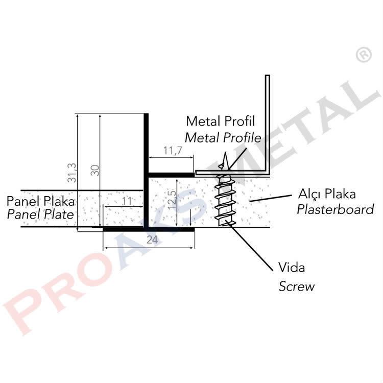 Ceiling Clipin Transition Profile