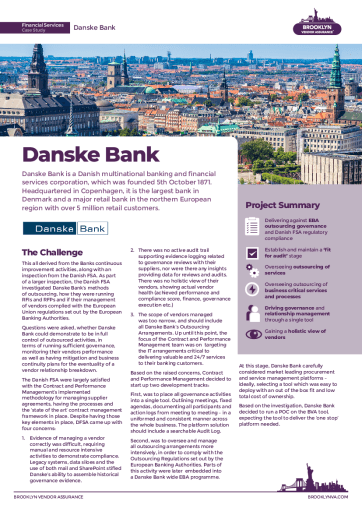Danske Bank Drives Supply Chain Governance and Compliance Using Brooklyn; Achieves 200% Resource Efficiency Gains and Digital Fitness for Audit