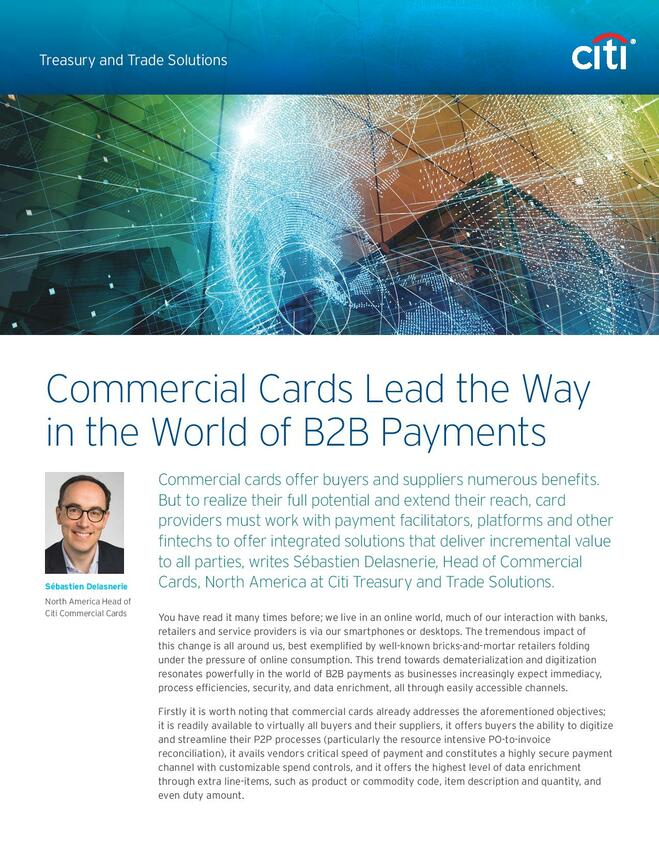 Commercial Cards Lead the Way in the World of B2B Payments