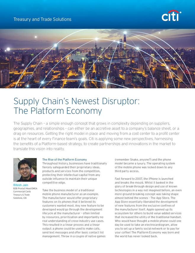 Supply Chain's Newest Disruptor: The Platform Economy