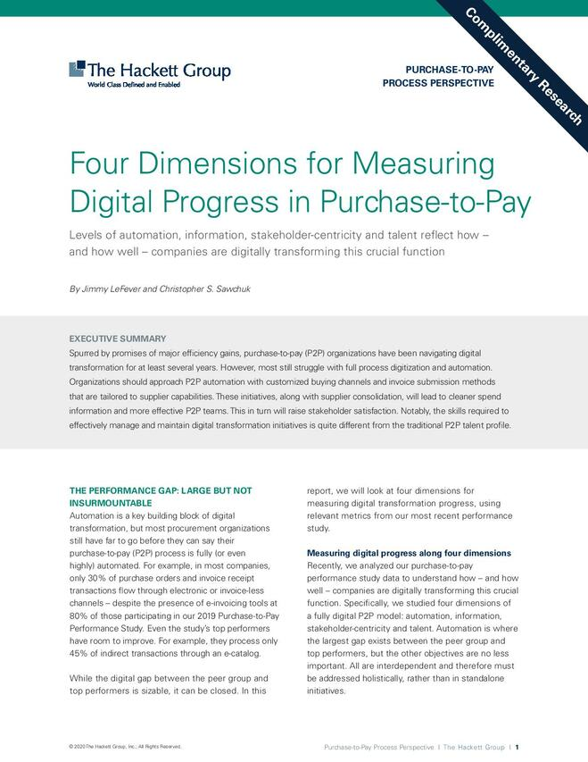 Four Dimensions for Measuring Digital Progress in Purchase-to-Pay