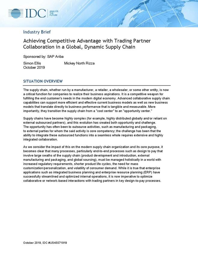 Achieving Competitive Advantage with Trading Partner Collaboration in a Global, Dynamic Supply Chain