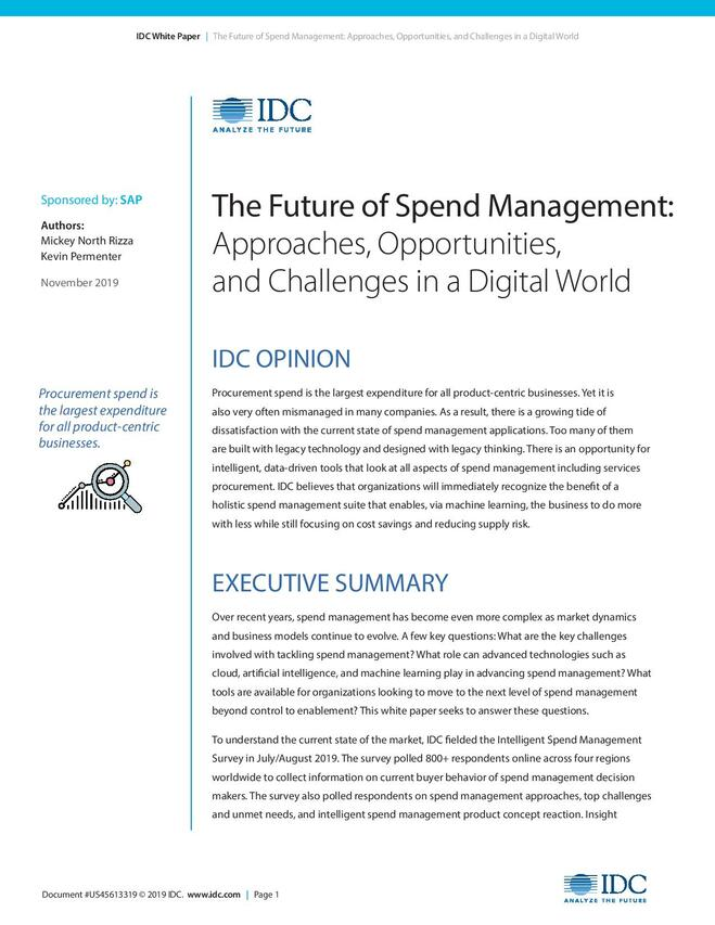 The Future of Spend Management: Approaches, Opportunities, and Challenges in a Digital World