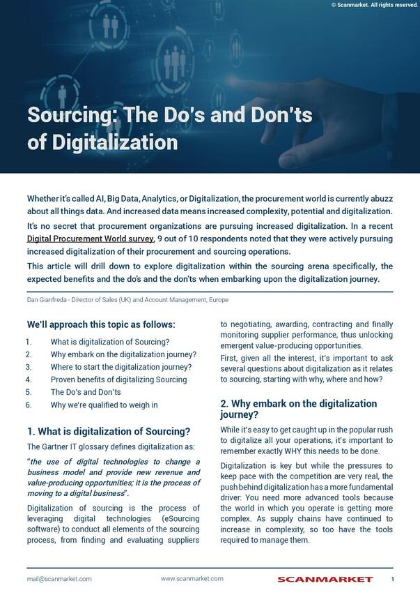 Sourcing: The Do's and Don'ts of Digitalization