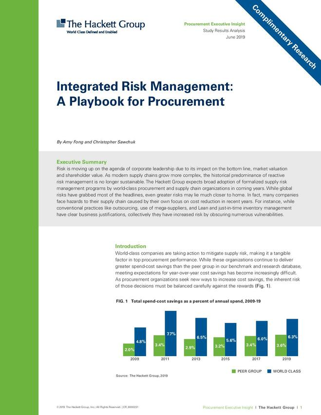 Integrated Risk Management: A Playbook for Procurement