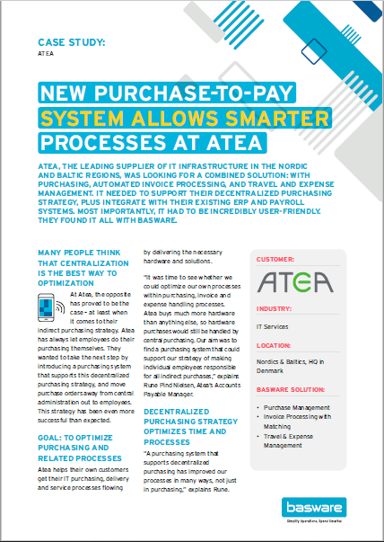 Atea: New Purchase-to-Pay System Allows Smarter Processes at Atea