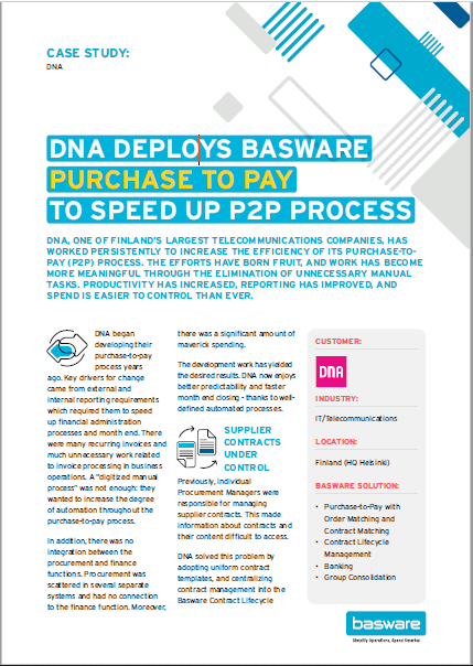 DNA Deploys Basware Purchase to Pay to Speed Up P2P Process