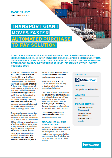 Transport Giant Moves Faster Automated Purchase-to-Pay Solution