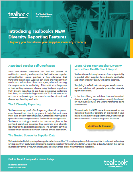 Introducing Tealbook's NEW Diversity Reporting Features