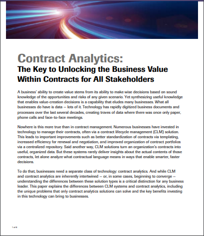 Contract Analytics: The Key to Unlocking the Business Value Within Contracts for All Stakeholders