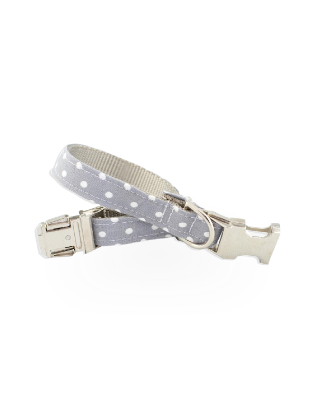 Gray Polkadot Fabric Collar, Large