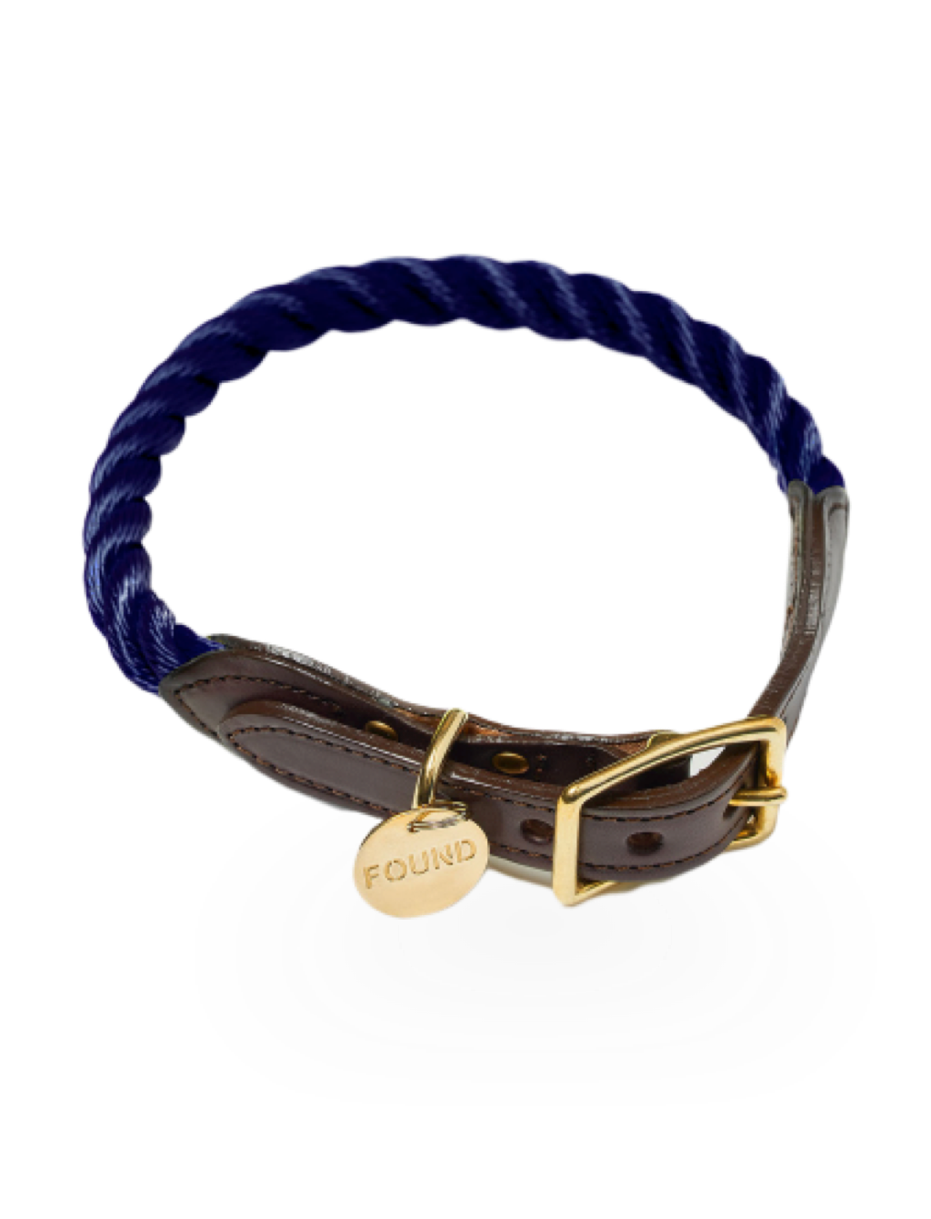 Navy Rope & Leather Collar, Large