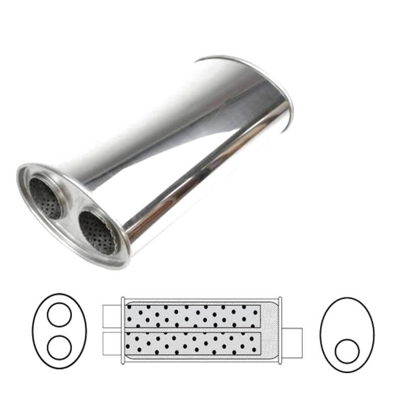 """8 X 5 14"""" LONG OFFSET 2 1/2"""" DUAL 2 1/4"""" OUT STAINLESS"""