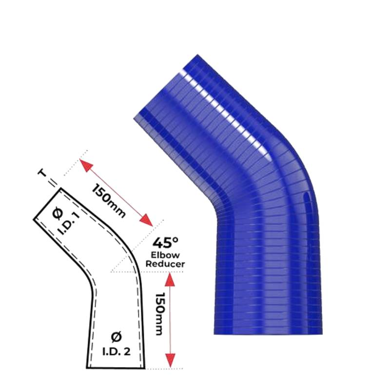 """Redback Silicone Hose (2-1/2"""" in, 3"""" out) 45° Bend Reducer"""