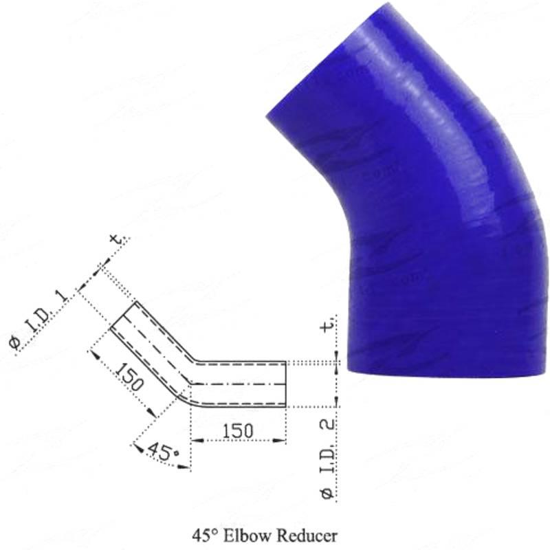 "ID 2-1/2""(63mm) - 3""(76mm), Blue, 45 reducer"