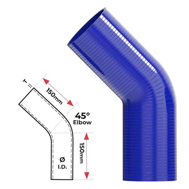 """Redback Silicone Hose (2-1/2"""") 45° Bend"""