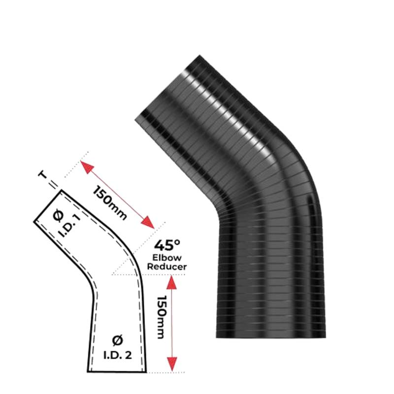 """Redback Silicone Hose (3-1/2""""in, 4"""") 45° Bend"""