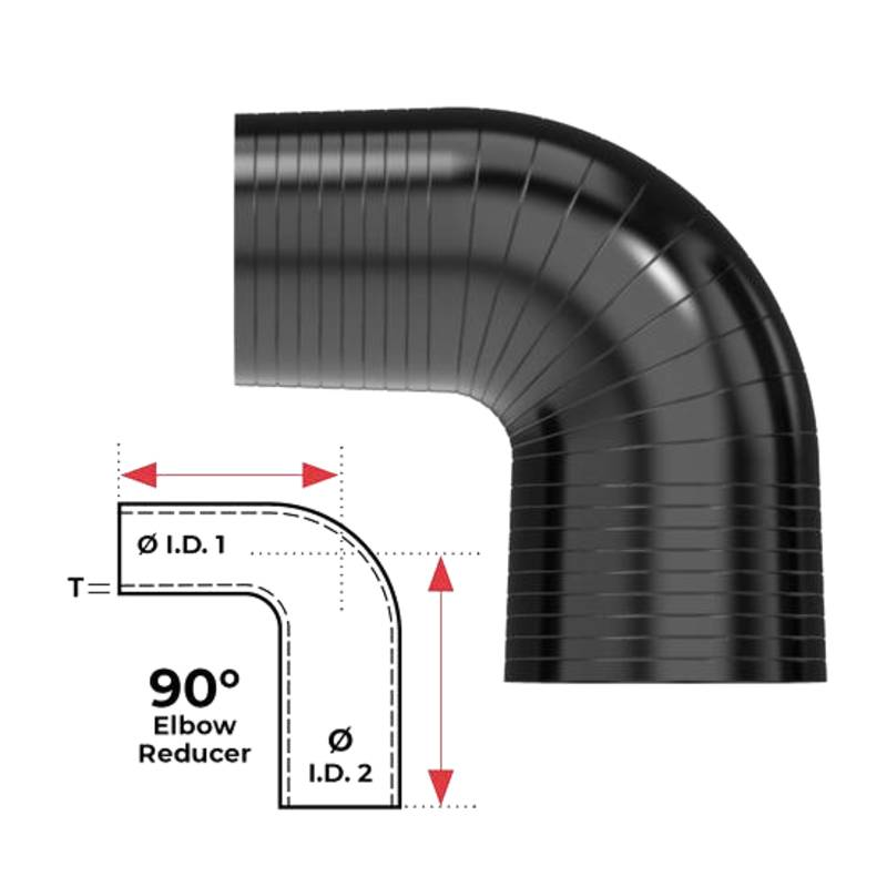 """Redback Silicone Hose (2"""" in, 2-1/2"""" out) 90° Bend Reducer"""