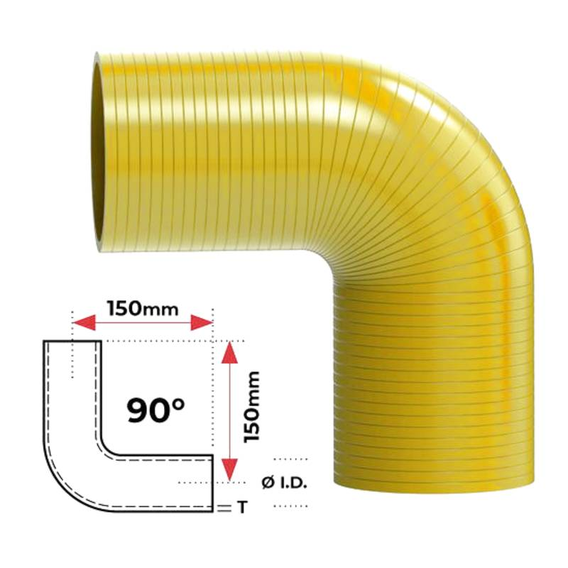 "ID 2 1/2"" (63mm), Yellow, 90 bend"
