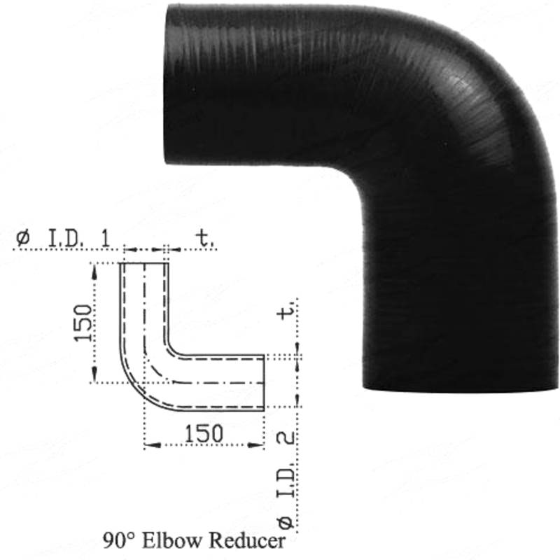 """Redback Silicone Hose (3-1/2"""" in, 4"""" out) 90° Bend Reducer"""