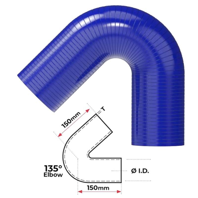 """Redback Silicone Hose (1-3/8"""") 135° Bend"""